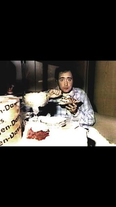 Andy Kaufman eating his favorite food. Can you guess what it is??? ❤️