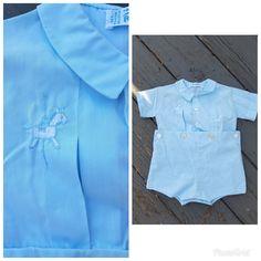 0de9592fb67d Vintage baby bobby suit 70s Feltman Bros. baby blue 2 piece romper