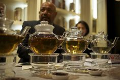 EastIndiaCompany Tea Master, Lalith Lenadora (the gentleman on the left) at an Evening of Tea Discovery in London, the Mayfair district.