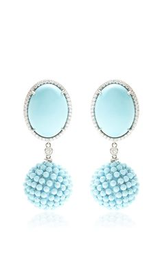 Turquoise, Diamonds, And Turquoise Beads Drop Earrings by Gioia for Preorder on Moda Operandi