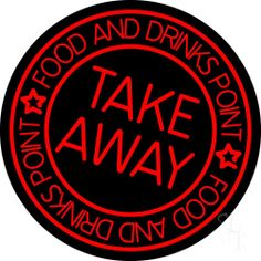Take Away Food And Drink Point Neon Sign 26 Tall x 26 Wide x 3 Deep, is 100% Handcrafted with Real Glass Tube Neon Sign. !!! Made in USA !!!  Colors on the sign are Red. Take Away Food And Drink Point Neon Sign is high impact, eye catching, real glass tube neon sign. This characteristic glow can attract customers like nothing else, virtually burning your identity into the minds of potential and future customers.