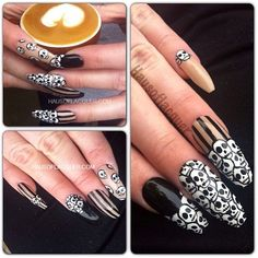 Blanche Nail Studio graduate Stephanie Urmeneta-Berry wows us every time with her freehand nail art skills. Here's a glossy set of skull nails she customized for a client. LOVE
