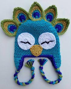 Peacock Bird Animal Hat: Crochet Infant Child by CroShayDesigns