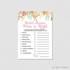 Coral Floral Printable Price is Right Game - Floral Bridal Shower Games - Price Is Right Bridal Game - Printable Bridal Shower Games 0004C