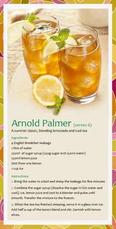 Arnold Palmer recipe alter the suagar for healthier option Summer Drinks, Fun Drinks, Party Drinks, Healthy Drinks, Water Recipes, Alcohol Recipes, Juice Recipes, Arnold Palmer Drink, Tapas