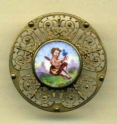Antique Button Enamel Plaquette with Delicate Brass Openwork and Cherub