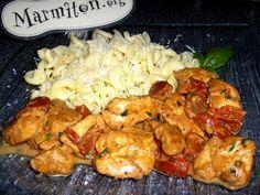 Emincé de poulet aux tomates séchées - Recette de cuisine Marmiton : une recette