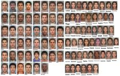 Average faces of men and women around the world.