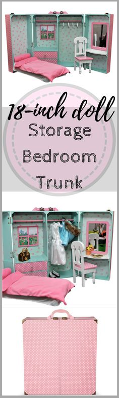 What a cute play area for American Girl/18-inch dolls! I love that if folds up for storage! The Queen's Treasures® 18 Inch Doll Storage Bedroom Trunk with Bed, Desk, Mirror, Bedding, Chair, Hangers #ad #afflink #americangirl #18inchdoll