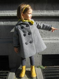 Dear My Kids double breasted stylish coat, sewn by Straight Grain. Beautiful!