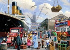 Puzzle Titanic in the port. Jigsaw puzzles, puzzle games for kids. Play free jigsaw puzzle Titanic in the port. Southampton, Nostalgic Art, Puzzle Art, Puzzle 1000, English Decor, Cartoon Art Styles, Rms Titanic, Am Meer, Historical Society