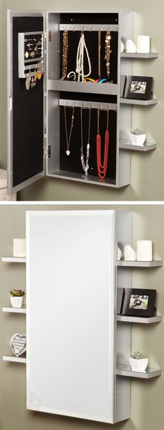 Mirrored Jewelry Amoire // handy shelves and special compartment for smaller items #product_design #furniture_design
