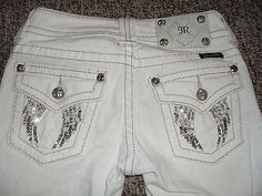 MISS-ME-Sparkly-ANGEL-WINGS-Cropped-White-Jeans-Capri-Pants-Sz-24-26x22-EC