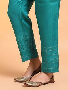 Green Embroidered Tie-up Waist Silk Cotton Pants Salwar Designs, Kurta Designs Women, Dress Designs, Salwar Pants, Embroidery Online, Kurti Embroidery Design, Pakistani Dress Design, Pants Pattern, Cotton Pants
