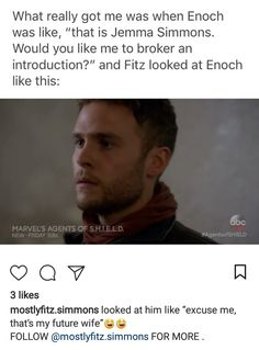 """""""Excuse me, we have been unofficially married for 5 seasons and beyond!""""-(not a real quote! Shield Season 5, Agents Of Shield Seasons, Marvels Agents Of Shield, Avengers Memes, Marvel Jokes, Marvel Avengers, Leopold Fitz, Iain De Caestecker, Marvel Show"""