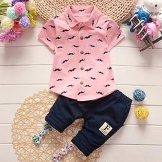 roupas de bebe Summer Baby Boys Mustache Lapel Collar Shirt Tops + Casual Pants Two Pieces Suits Kids Clothing Sets Baby Outfits Newborn, Toddler Outfits, Baby Boy Outfits, Kids Outfits, Children's Outfits, Toddler Dress, Baby Boy Suit Set, Overall Kind, Baby Kleidung Set