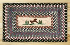 Rectangle Print Patch Horse Braided Earth Rug®