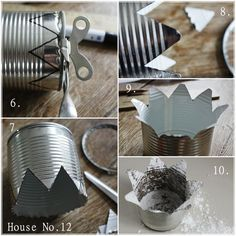 Ihr Lieben, in unserem Post mit den neuen Liegestühlen haben einige von euch di… Dear Ones, in our post office with the new deckchairs, some of you have admired the cans of tin cans that are in our garden. Tin Can Crafts, Dyi Crafts, Diy Crafts For Kids, Tin Can Art, Tin Art, Craft Gifts, Diy Gifts, Rustic Christmas, Christmas Crafts