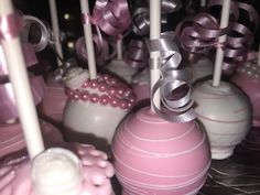 Pink & White; Lace & Pearl cake pops www.Facebook.com/Friscocakepopshop  Www.FriscoCakePopShop.com www.instagram.com/Friscocakepopshop