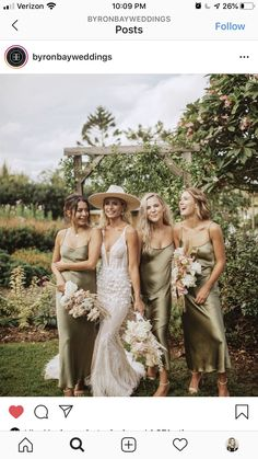 Then this bridesmaid dresses inspiration could be the one for you! Love how the velvet gowns in warm hue provide such. Olive Green Bridesmaid Dresses, Satin Bridesmaid Dresses, Wedding Bridesmaids, Wedding Dresses, Bali Wedding Dress, Satin Dresses, My Big Fat Gypsy Wedding, Boho Wedding, Dream Wedding