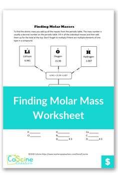 Are you looking for a way to teach students how to find molar mass that is fun and easy to see? High school and middle school students will love how easy it is to understand what to do. So easy a sub could teach these as emergency plans. High School Chemistry, Chemistry Teacher, Mass Number, Molar Mass, Decimal Number, Chemical Equation, Teaching Science, Free Reading, Middle School