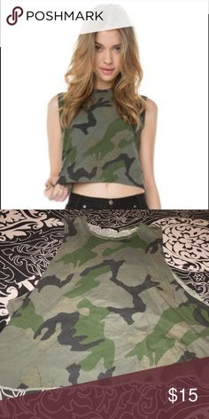 brandy melville camo muscle tank great condition // love this tank just don't wear it enough // not cropped like photo shows Brandy Melville Tops Muscle Tees