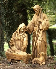 "Rustic Holy Family with Lamb 34""H $399.00 Nativity Holy Family with Lamb from the Glimpses of God Collection by Layhou Lam.  Inspired by a  mission trip to a children's home.  These Nativity figures are cast from a real wood carving for an authentic wood look.  Made from durable resin."