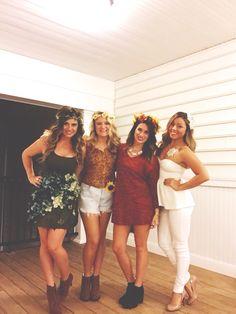 Four seasons halloween costume. Four girl costume. Halloween. Group costume. Spring. Summer. Fall. Winter. College halloween.