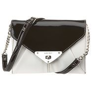 """Small cross-body bag with fold over flap and twist lock closure.  Metal hardware and adjustable shoulder strap with chain detail.  inside features three full compartments and a side zip pocket.  Measures approx 8:W x 6 1/2"""" H x 2 1/2"""" D, 21"""" drop of shoulder strap."""