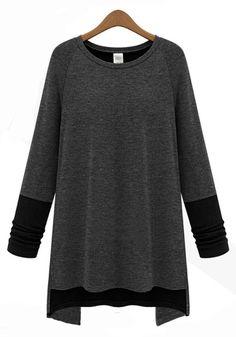 Love! Love! Love! Want! Dark Grey and Black Patchwork Irregular Extra Long T-Shirt