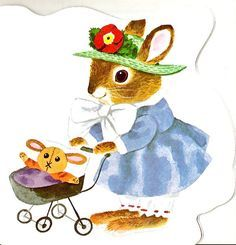 Richard Scarry, of course, with a sweet baby bunny pushing her doll stroller in this vintage children's illustration Richard Scarry, Children's Book Illustration, Woodland Illustration, Book Illustrations, Little Golden Books, Vintage Books, Vintage Children, Book Art, Retro