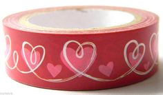 Cute Valentine washi tape || pink and red hearts