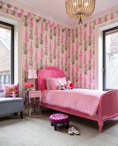 girl's bedroom // pink baroque bed // Benjamin Cruz Designs