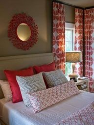 guest bedroom - love the long pillow & the curtains