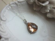 Blush Champagne Necklace Peach Pink Silver Teardrop  by laalee, $31.00