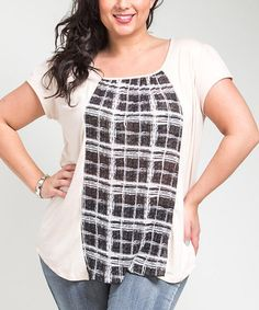 tshirt refashion idea, I have the perfect purple plaid for this shirt!  -  Look what I found on #zulily! Beige & Black Plaid Cutout Top - Plus #zulilyfinds