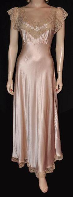 1951 Silk Satin Bias-Cut Nightgown