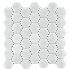 2,5x2,5 hexagon mosaik vit
