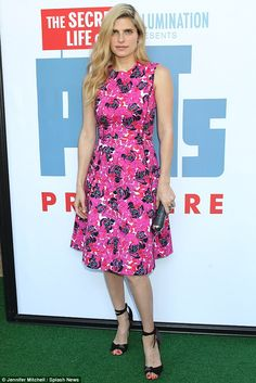 Classic: On Saturday, Lake Bell, 37, was pretty as a petal in a floral-print dress while a...