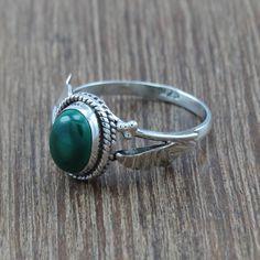 925 Sterling Silver Jewelry Beautiful Designer Malachite Ring Size 6 R-4600
