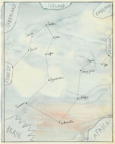 <em>Flight Map</em>, 1980s. Watercolor, collage, and pencil on paper, 23 1/8 x 14 5/8 in. Centre Pompidou, Paris; Gift of The Saul Steinberg Foundation.