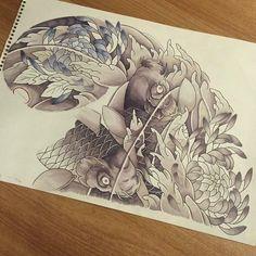 Koi Fish Drawing, Koi Fish Tattoo, Fish Drawings, Koi Tattoo Design, Tattoo Designs, Frog Tattoos, Japan Tattoo, Oriental Tattoo, Irezumi
