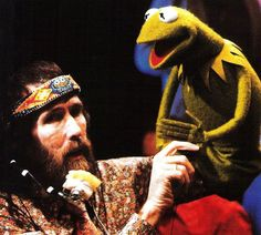 Jim Henson with Kermit the Frog on the set of The Muppet Show.