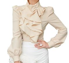 RUFFLE LAYER BLOUSE - APRICOT | The Style Mob