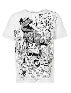 Pure Cotton Dinosaur Print T-Shirt with Pens Clothing