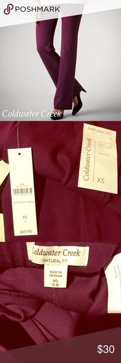 🍷NWT Coldwater Creek Perfect Bootcut Leggings BRAND NEW with Tags. Never worn. Size XS (4-6). Color: Rich Raisin - a rich, wine-inspired hue.🍷 From my smoke free home. Original Retail: $69.95.   ◼️ABOUT: Not too tight, not too relaxed...just perfect! Soft-stretch ponte in a sleek bootcut silhouette. Natural fit sits at the waist. Pull-on style. Rayon, nylon, spandex; machine wash. Imported. Inseams: 32 in.  ▪️Natural fit sits at the waist ▪️Pull-on style ▪️Bootcut legs ▪️Machine wash for…