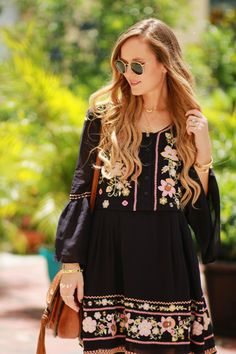 392e3bca6e4 Fall transition boho outfit styled with a black embroidered flowy dress
