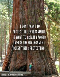 aku tak ingin melindungi lingkungan tapi aku ingin menciptakan lingkungan yang tak butuh perlindungan.