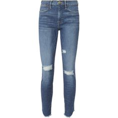 Frame Le High Skinny Crop Jeans (835 PLN) ❤ liked on Polyvore featuring jeans, frame skinny jeans, blue skinny jeans, skinny fit jeans, skinny leg jeans and frame jeans