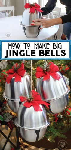 How to make DIY giant jingle bells for Christmas decor with this easy idea from Smart School House! With just a few simple supplies and some metal mixing bowls, you'll have some adorable decorations that look great all over your house! This DIY tutorial is perfect for making holiday decorations for your mantle, Christmas tree, table, and more! See how these incredible giant jingle bells are made! Christmas Picks, Christmas Sewing, Christmas Balls, Christmas Home, Christmas Ornaments, Pink Christmas, Christmas Ideas, Diy Christmas Decorations For Home, Handmade Christmas Gifts